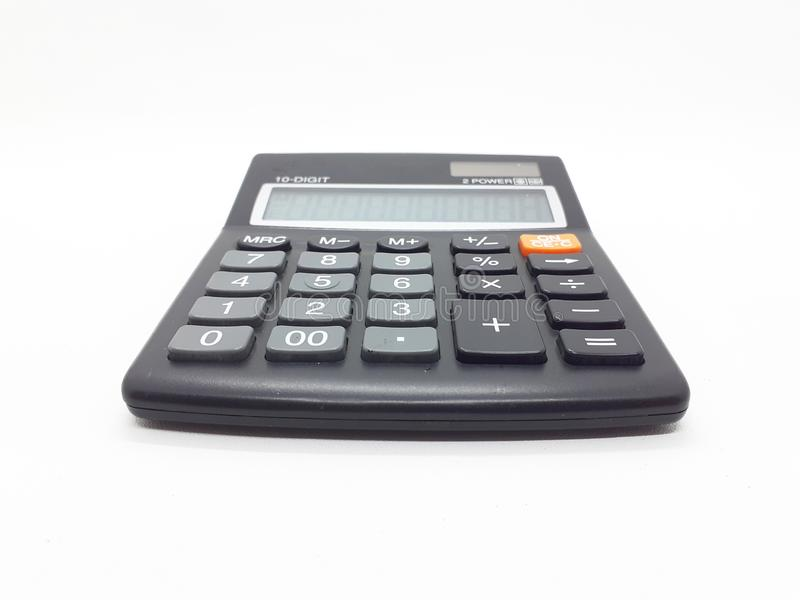 Black Commercial Calculator with Solar Battery Power in White Isolated Background 01 royalty free stock photos