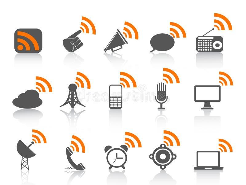 Black communication icon with orange rss symbol