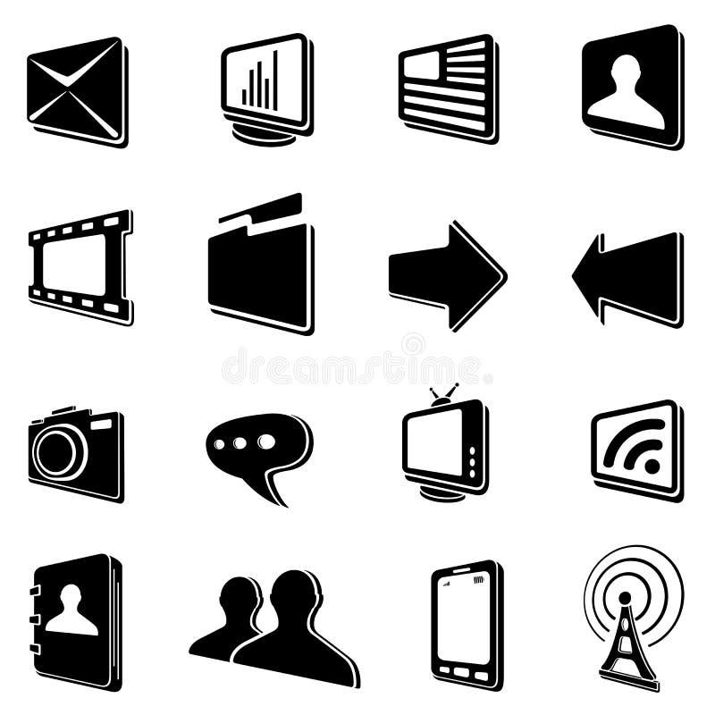 Black Communication Icons Stock Photos
