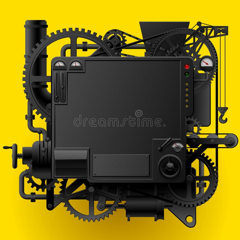 Black complex fantastic machine. With gears, levers, pipes on yellow background. Steampunk style template, frame, poster and techno background. Vector vector illustration