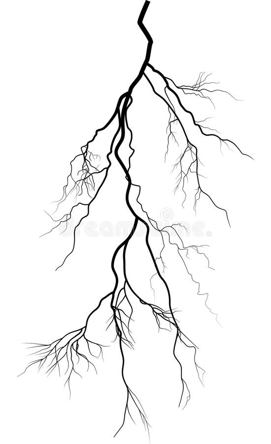 Black complicated lightning isolated on white vector illustration