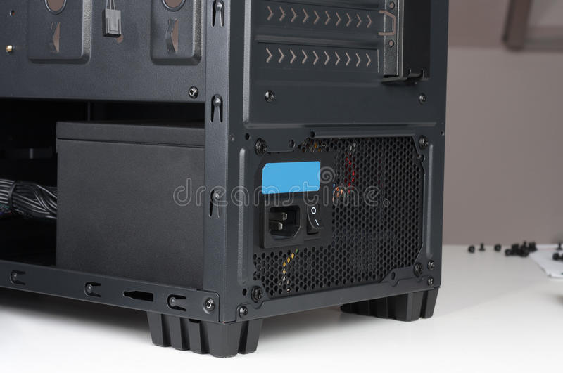 Black computer case, midi tower for ATX motherboard, with insert royalty free stock image