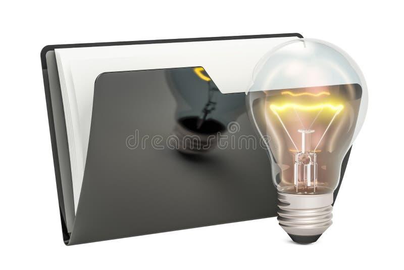 Black computer folder icon with lightbulb, 3D rendering vector illustration