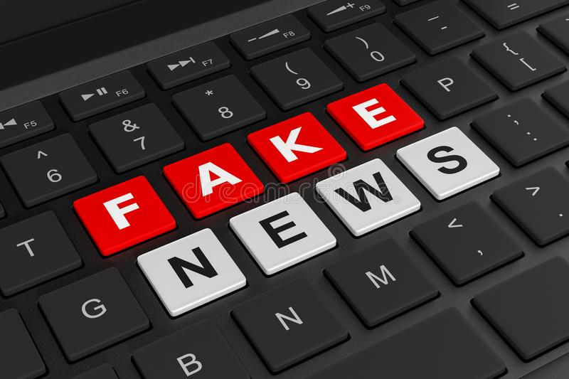 Computer Keyboard Fake News Concept. Black Computer Keyboard Close-up with Fake News Text Word on Keys 3D Illustration vector illustration