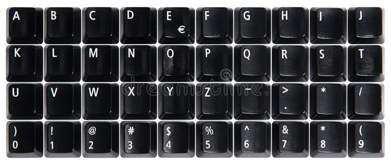 Black computer keyboard keys. On white background stock photos