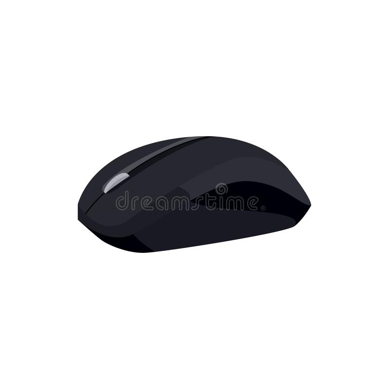 Black computer mouse icon, cartoon style. Black computer mouse icon in cartoon style on a white background stock illustration