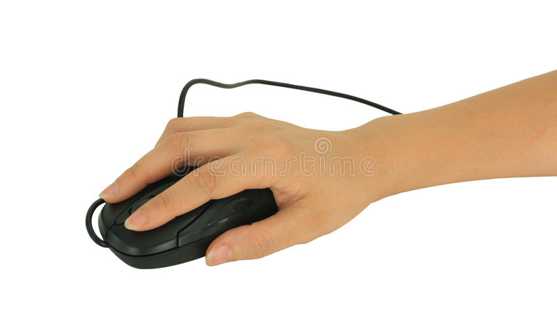Black Computer optical mouse on hand isolated on white stock photography
