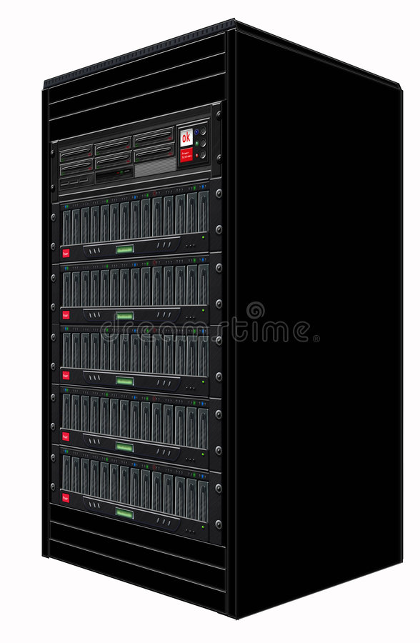 Black Computer Server. Illustration of cabinet with racked computer server and storage royalty free illustration
