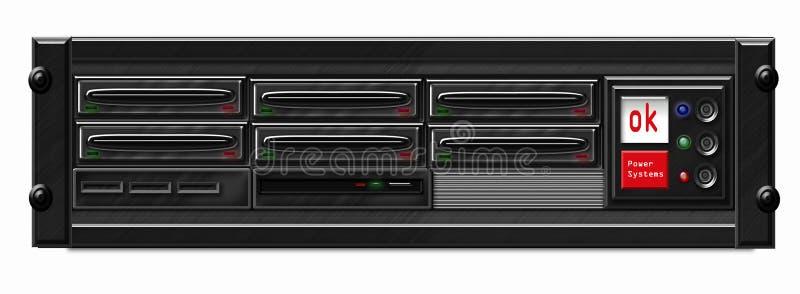 Black Computer Server. Illustration of black computer server front vector illustration