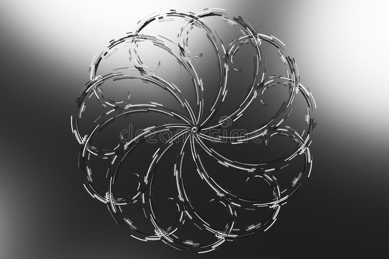 Black concentric spiral flower shape with white glowing elements royalty free illustration