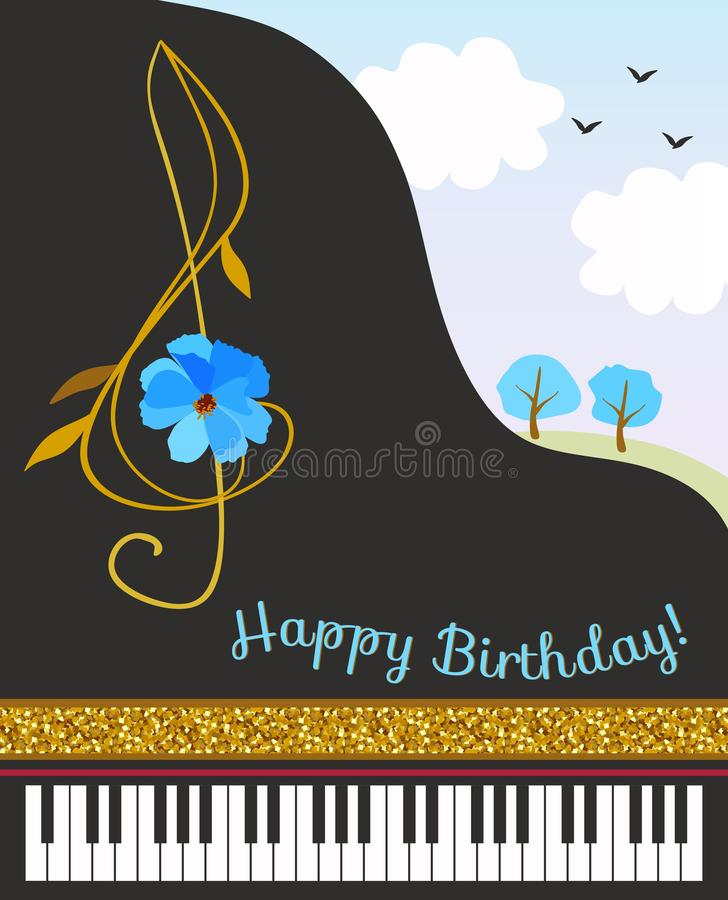 Black concert grand piano, treble clef in shape of cosmos flower, golden ribbon and spring landscape. Happy birthday greeting card royalty free illustration