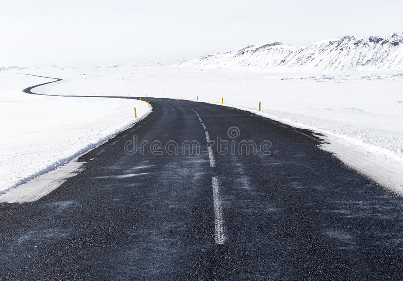 Black Concrete Road In The Middle Of White Snow Free Public Domain Cc0 Image