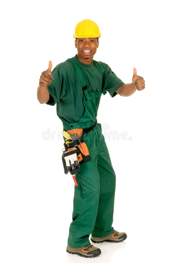 Black construction worker stock photo