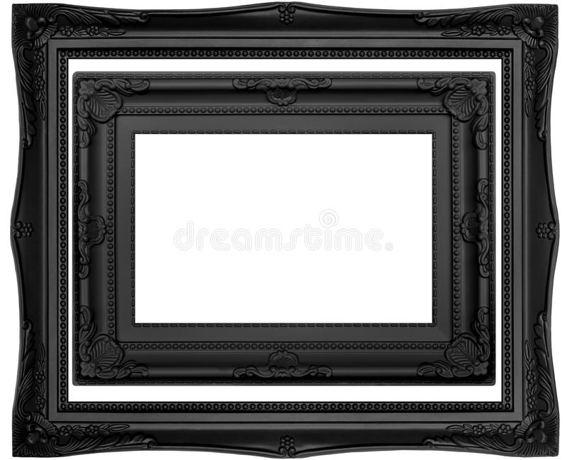 Black Isolated Frames. Contemporary black frames with ornate vintage styling isolated on white background stock photos
