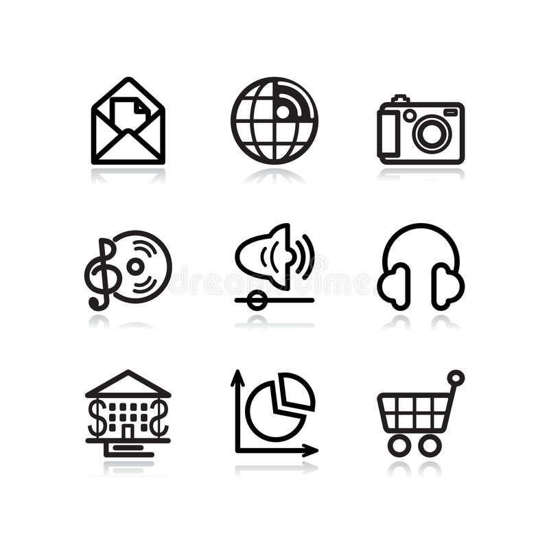 Download Black Contour Web Icons, Set 5 Editorial Photography - Image: 5205432