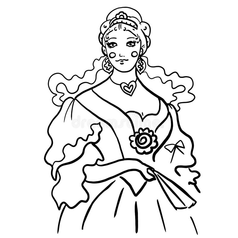 Black contour woman sketch in antique ball gown dress. Queen, princess in diadem. On curly combed hair. Jewelry, heart on her neck, fan in the hand, corset vector illustration