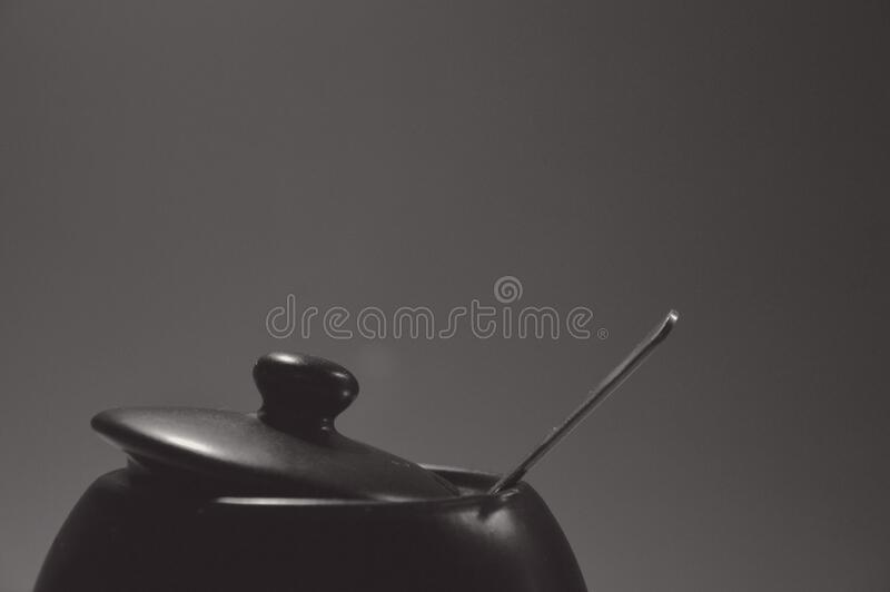 Black Cooking Pot With Stainless Steel Spoon Free Public Domain Cc0 Image