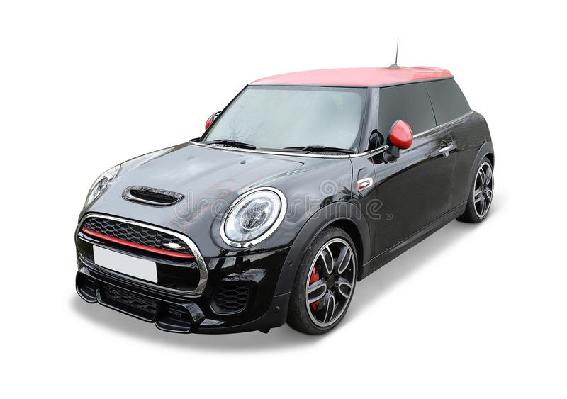 Black Cooper Mini. Front of black Cooper mini auto isolated on white stock images