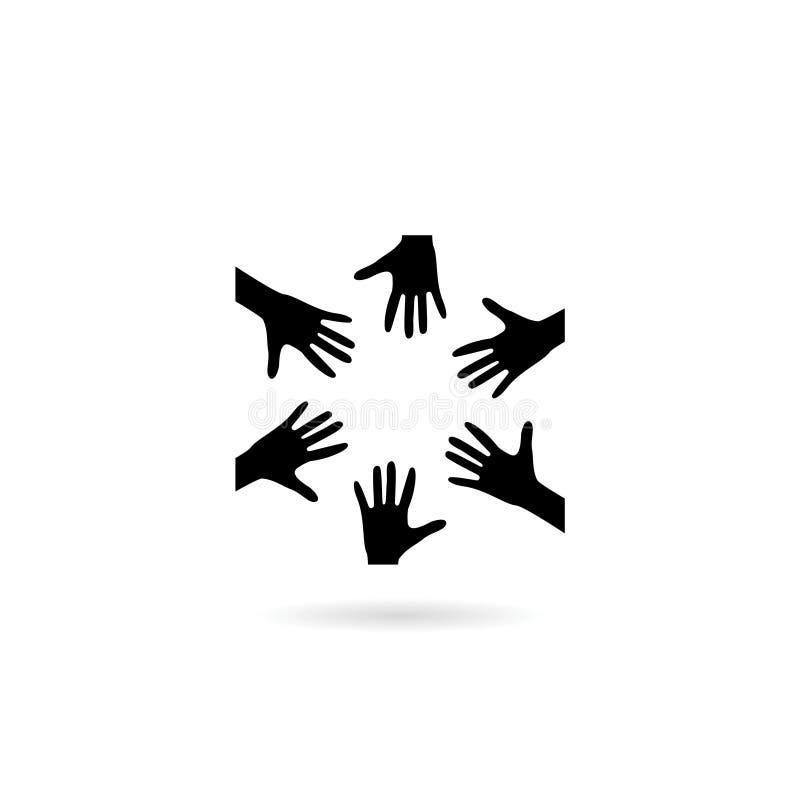 Black Cooperation hands logo, teamwork icon. Cooperation hands logo, teamwork icon on white stock illustration