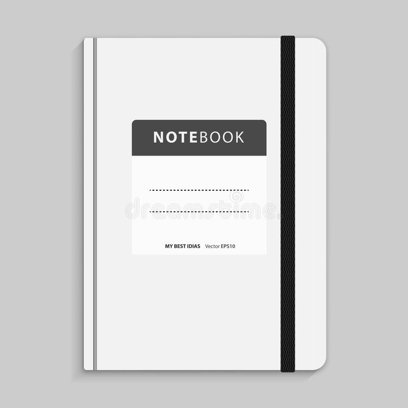 Black copybook with elastic band bookmark. Vector illustration. Realistic white copybook with elastic band bookmark. Diary author for office information royalty free illustration