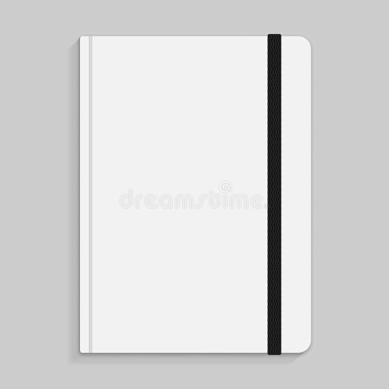 Black copybook with elastic band bookmark. Vector illustration. royalty free illustration