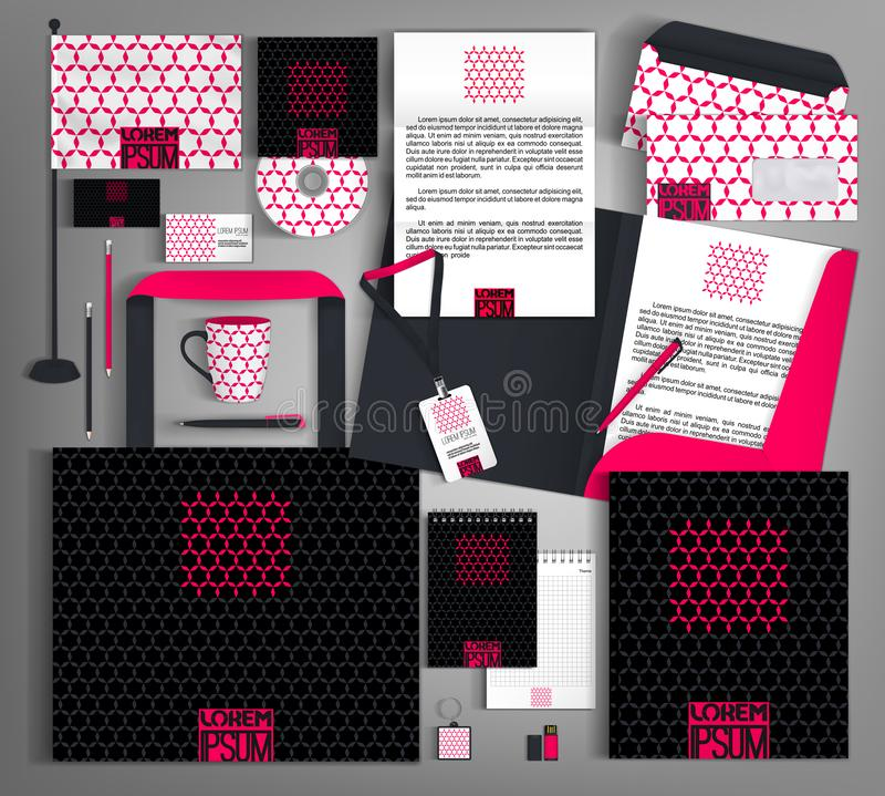 Black corporate identity with a bright pink element. Vector template business design set of stationery royalty free illustration