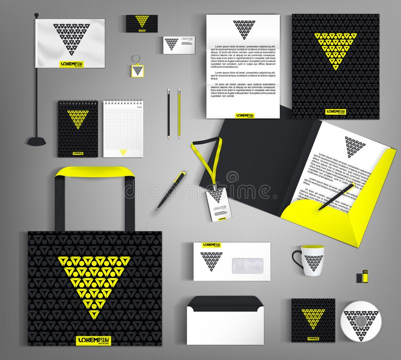 Black corporate identity with a yellow triangle. Vector template business design set of stationery stock illustration