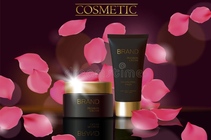 Black cosmetic ad design template. Dark golden skin care package tube glass reflection. Rose petals defocuced background royalty free illustration