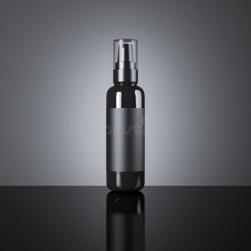Black cosmetic blank spray bottle. 3d rendering. Black cosmetic blank spray bottle on a dark background. 3d rendering royalty free illustration