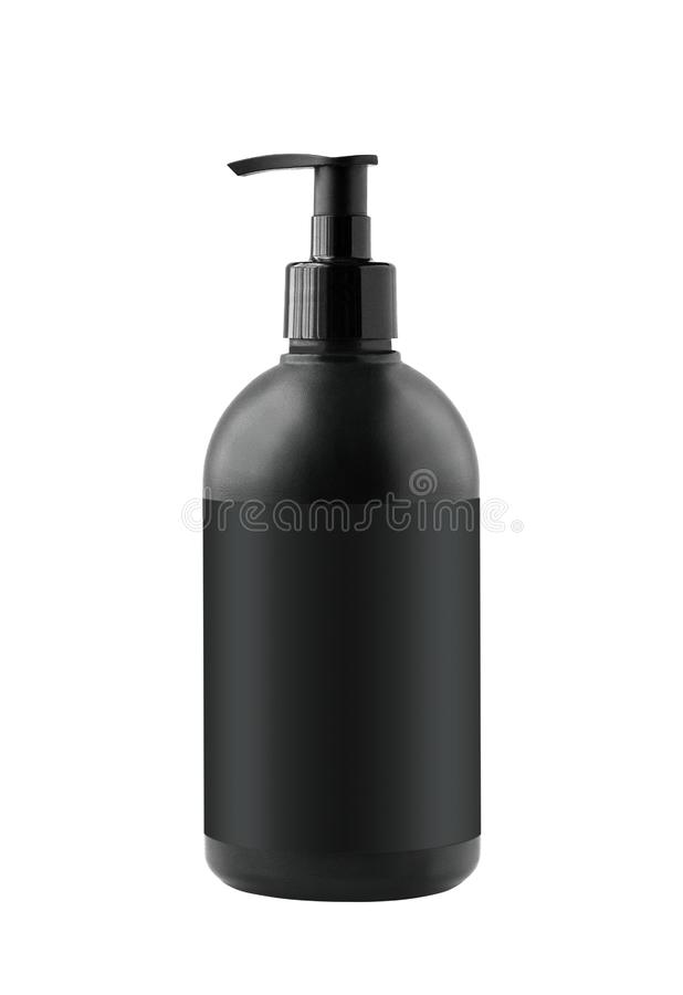 Black cosmetic container with pump isolated stock photos