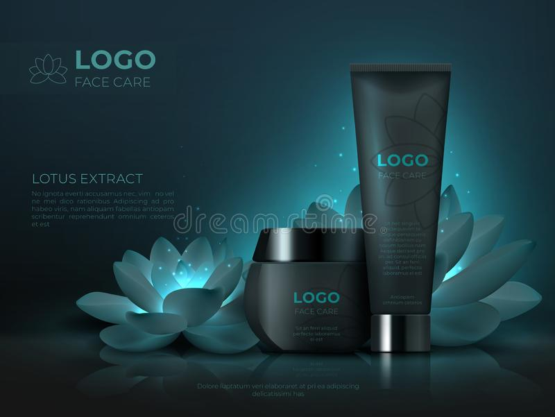 Black cosmetic product background. Luxury beauty skincare cream realistic 3D makeup tube. Cosmetic promotion template stock illustration