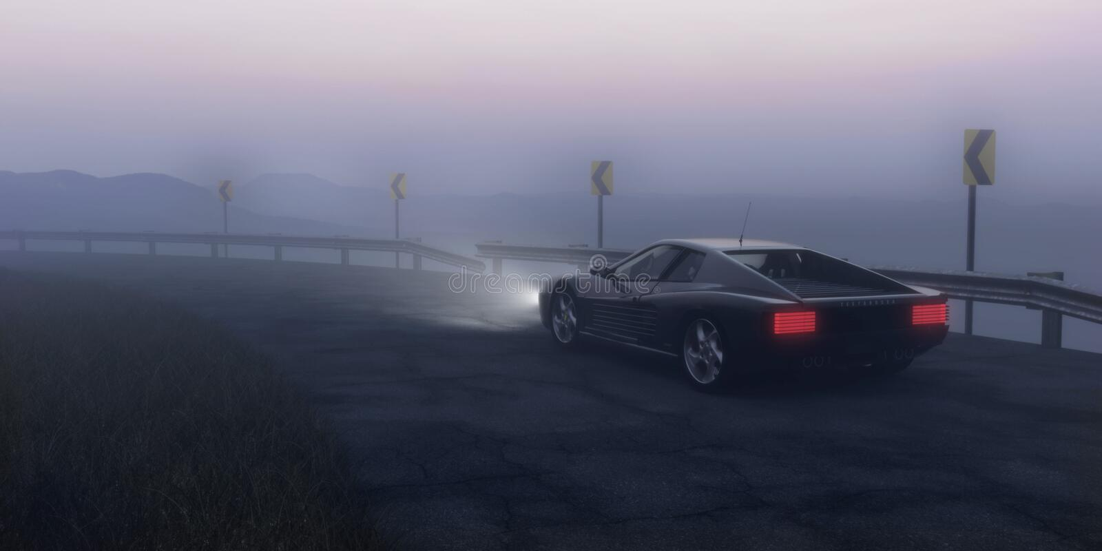 Black Coupe Parked on Concrete Road Near Body of Water royalty free stock photo
