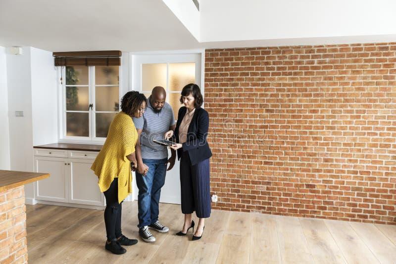 Black couple buying new house stock images