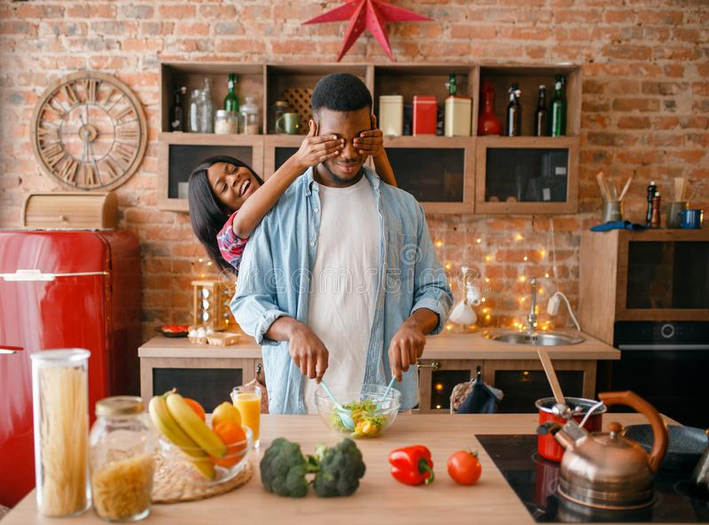 Black couple having fun while cooking on kitchen. Playful black couple having fun while cooking on the kitchen. African family preparing vegetable salad at home royalty free stock photos