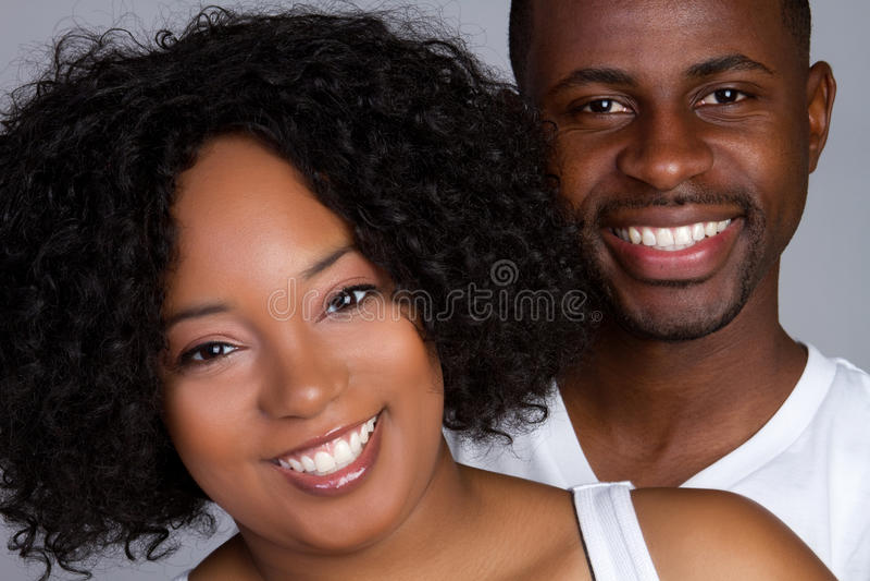 Black Couple Smiling royalty free stock image