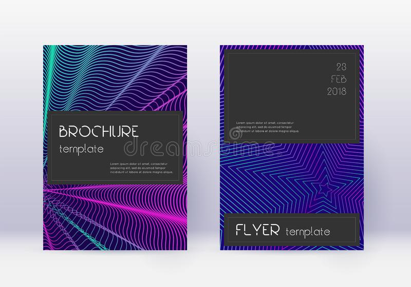 Black cover design template set. Neon abstract lin vector illustration