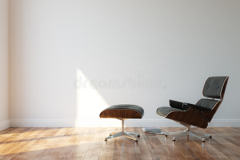 Black Cozy Leather Armchair In Minimalist Style Interior stock images