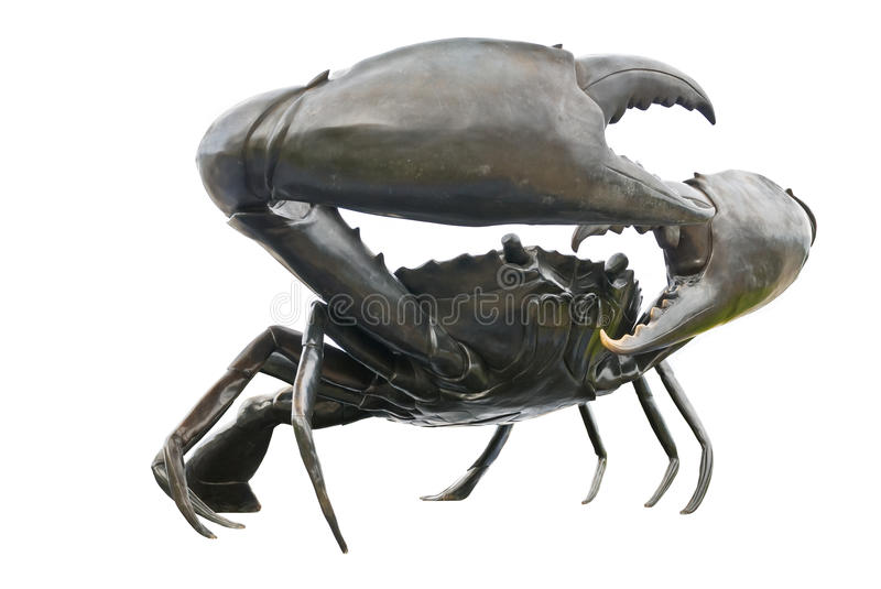 Black crab. Sculptures in white background stock photo