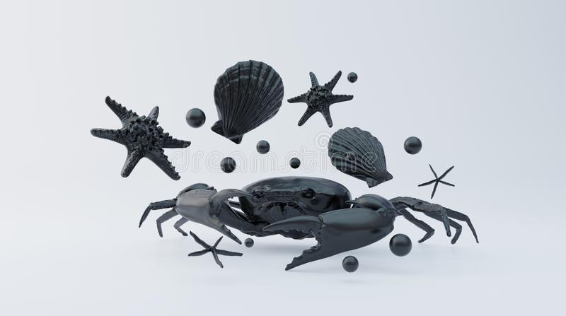 Black crab with abstract black shells, starfish and pearls on white background. In middle. 3d rendering. royalty free illustration