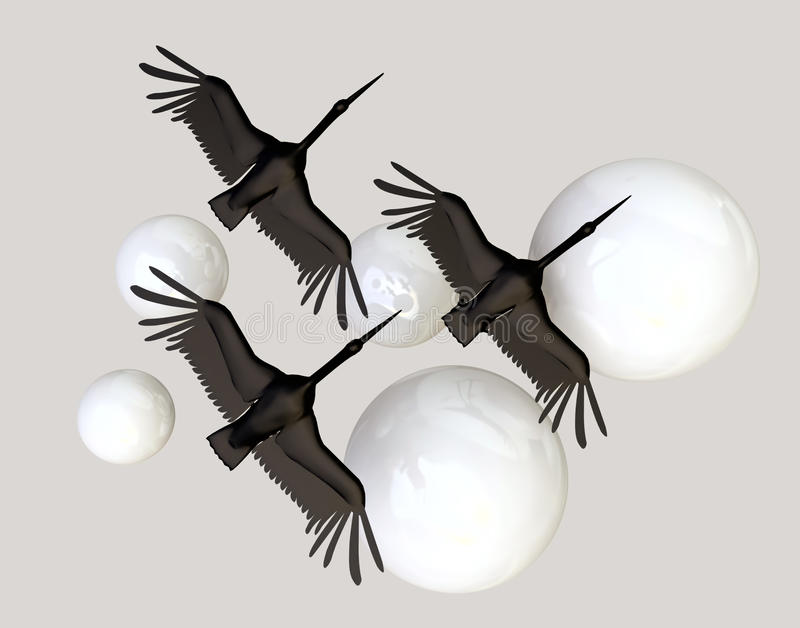 Download Black Crane Birds And White Spheres Stock Illustration - Image: 20991248