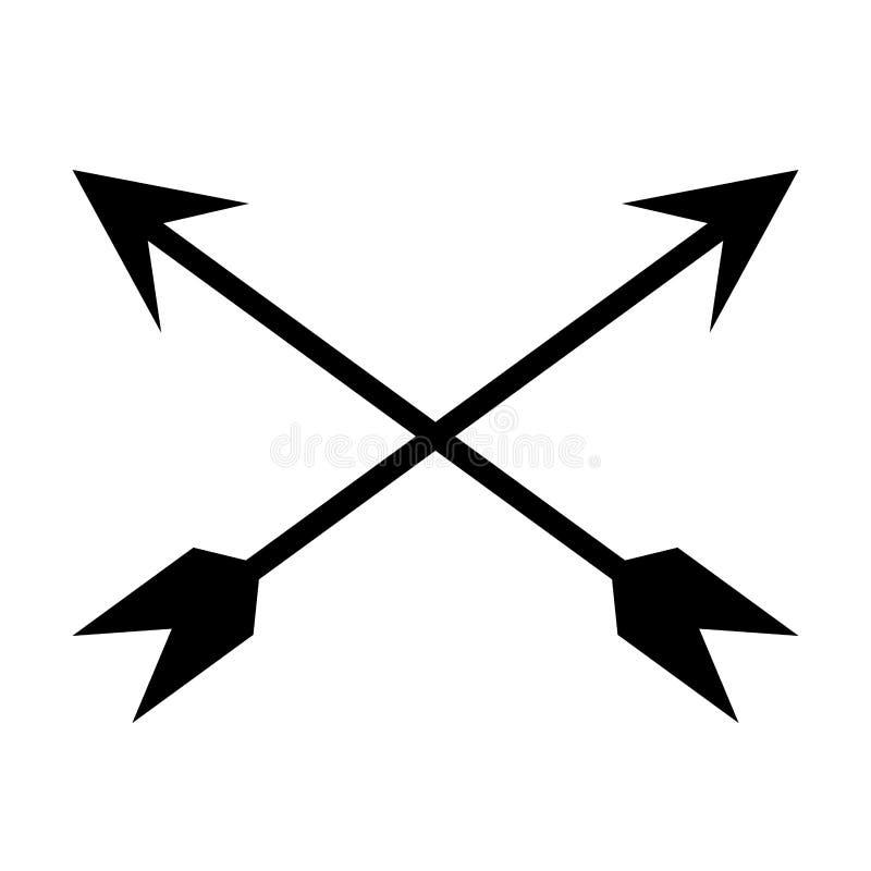 black crossed arrows stock illustration