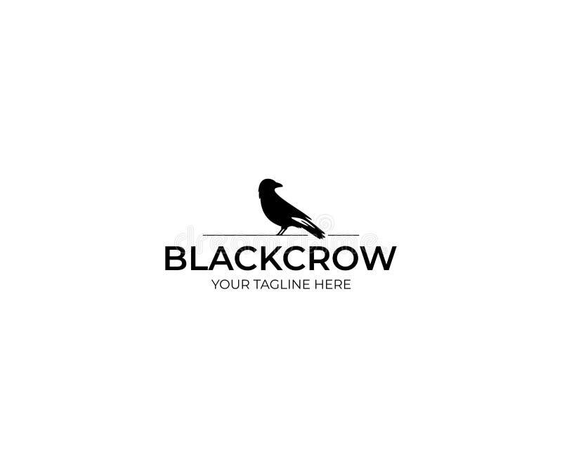 Black Crow Logo Template. Raven Vector Design stock illustration