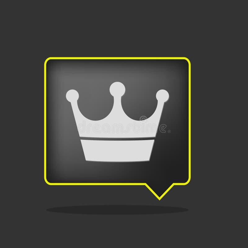 Black crown icon. Black yellow neon crown icon stock illustration