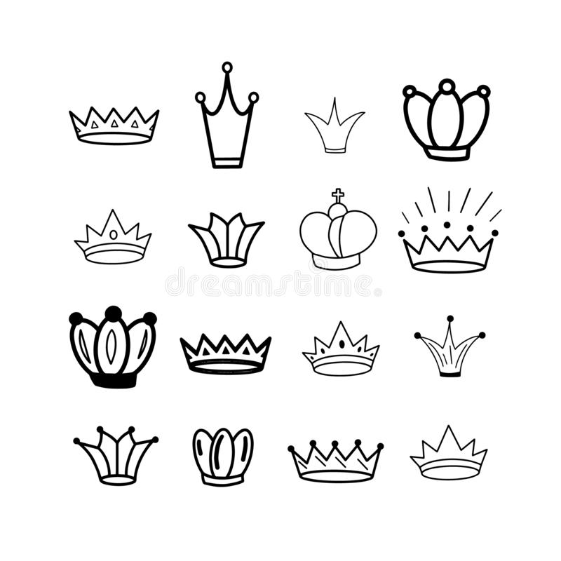 Black Crowns. Tiara. Diadem. Sketch crown. Hand drawn queen tiara, king crown. Royal imperial coronation symbols, monarch majestic royalty free illustration