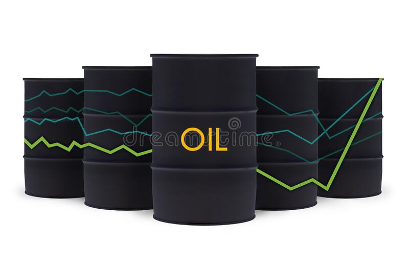 Black crude oil barrels with statistics chart isolated on white. Oil prices are rising.  royalty free illustration