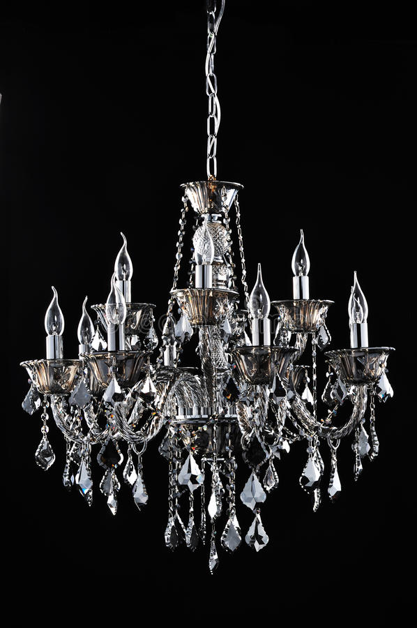 Black crystal lighting for Commercial building Romantic Home Furnishing decoration,Holiday gift. Black crystal lamp features for background stock images