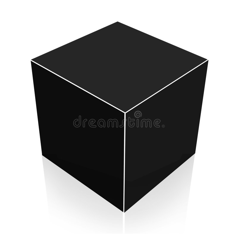 Download Black Cube stock vector. Image of reflection, dimension - 3421787
