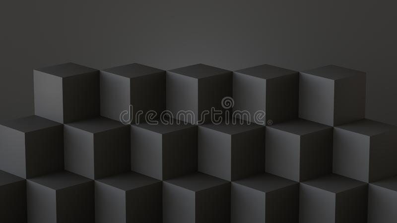 Black cube boxes with dark wall background. 3D rendering. royalty free illustration