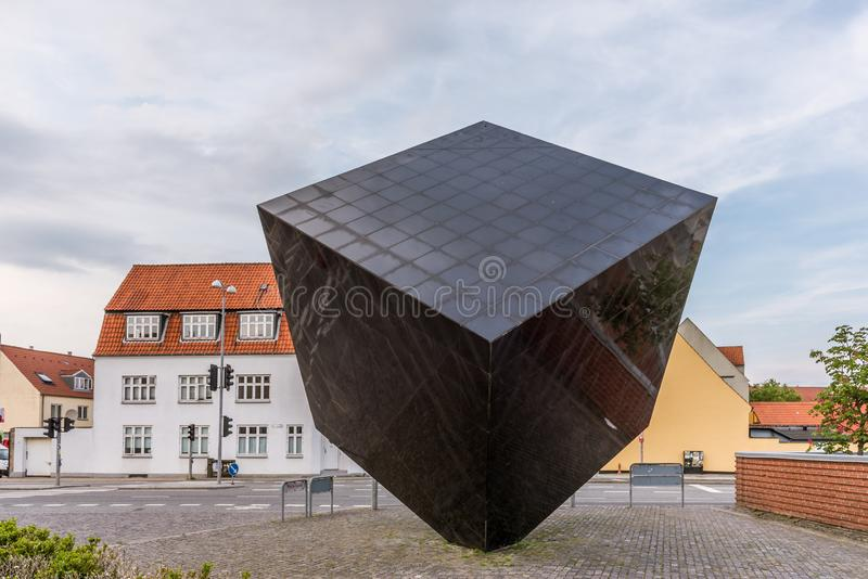 The Black Cube, a gigant sculpture in Svendborg, Denmark. July 10, 2019 stock photos