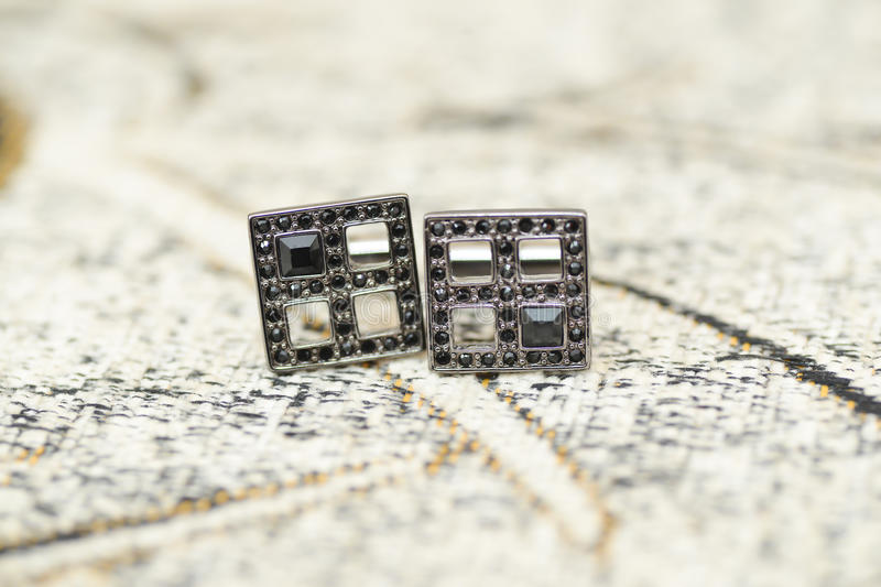 Download Black cufflinks details stock photo. Image of expensive - 83700002